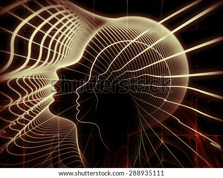 Geometry of Soul series. Arrangement of profile lines of human head on the subject of education, science, technology and graphic design