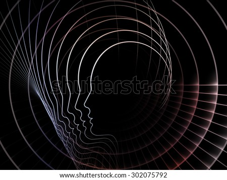 Geometry of Soul series. Backdrop of profile lines of human head on the subject of education, science, technology and graphic design