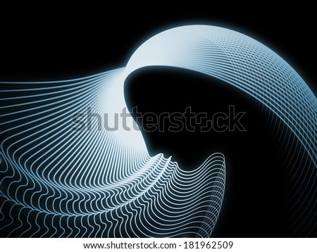 Geometry of Soul series. Background design of profile lines of human head on the subject of education, science, technology and graphic design
