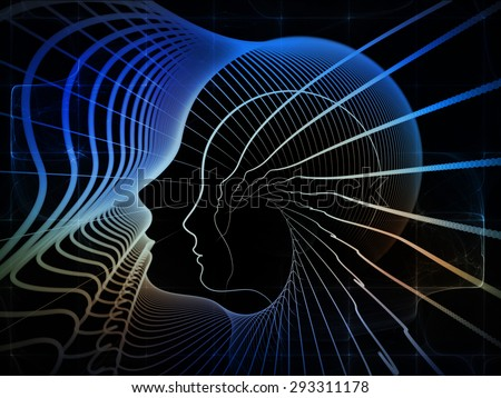 Geometry of Soul series. Composition of profile lines of human head on the subject of education, science, technology and graphic design