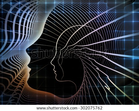 Geometry of Soul series. Composition of profile lines of human head suitable as a backdrop for the projects on education, science, technology and graphic design