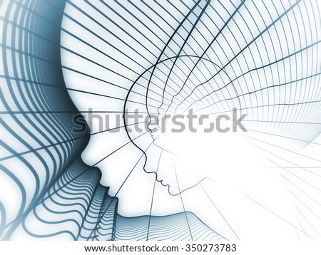 Geometry of Soul series. Composition of  profile lines of human head to serve as a supporting backdrop for projects on education, science, technology and graphic design