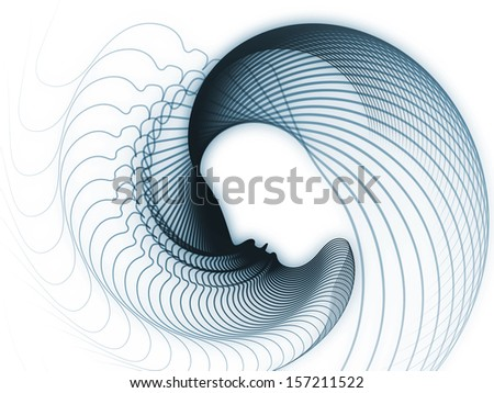 Geometry of Soul series. Creative arrangement of profile lines of human head to act as complimentary graphic for subject of education, science, technology and graphic design
