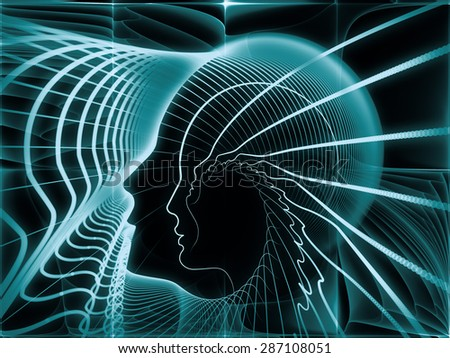 Geometry of Soul series. Design made of profile lines of human head to serve as backdrop for projects related to education, science, technology and graphic design