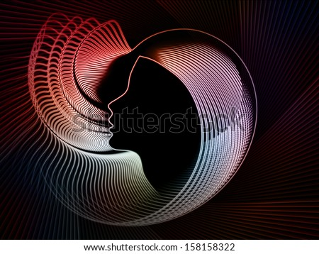 Geometry of Soul series. Graphic composition of profile lines of human head to serve as complimentary design for subject of education, science, technology and graphic design