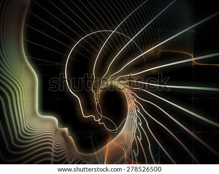 Geometry of Soul series. Interplay of profile lines of human head on the subject of education, science, technology and graphic design