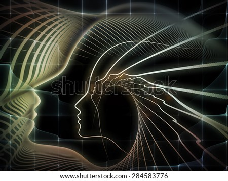 Geometry of Soul series. Visually pleasing composition of profile lines of human head to serve as  background in works on education, science, technology and graphic design