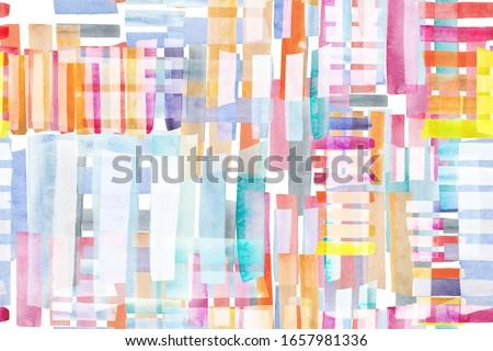 Geometry Organic. Camo Seamless. Artistic Avant Garde Patchwork. Grunge Watercolour Pattern. Swimwear Textile. Carpet Ornament. Contemporary Art Abstract Fashion. Multicolor Stripes.