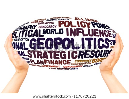 Geopolitics word cloud hand sphere hand sphere concept on white background. #1178720221