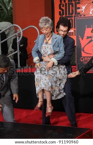 """George Chakiris with Rita Moreno at the """"West Side Story"""" Cast Hand and Footprint Ceremony, Chinese Theater, Hollywood, CA 11-15-11"""