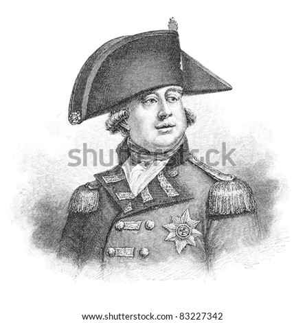 George III (1738-1820) was King of Great Britain and King of Ireland. Illustration from Harper's Monthly Magazine april 1883. The image is currently in public domain due to its age.
