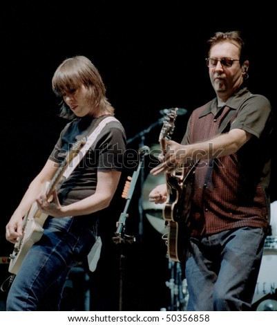 GEORGE, WA - SEPT 9: Singer and guitar player Chrissie Hynde and guitar player Robbie MacIntosh of The Pretenders performs on stage at The Gorge Amphitheater September 9, 2000 in George, Wa.