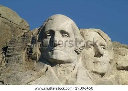 George Washington and Thomas Jefferson at Mount Rushmore National Memorial, South Dakota, USA