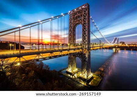 stock photo george washington bridge at sunrise in fort lee nj george washington bridge is a suspension 269157149 - Каталог — Фотообои «Мосты»
