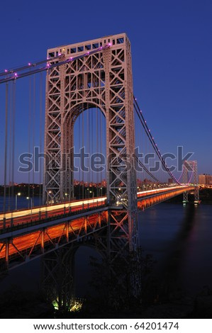 George Washington Bridge in Pink lights for Breast Cancer Awareness Month