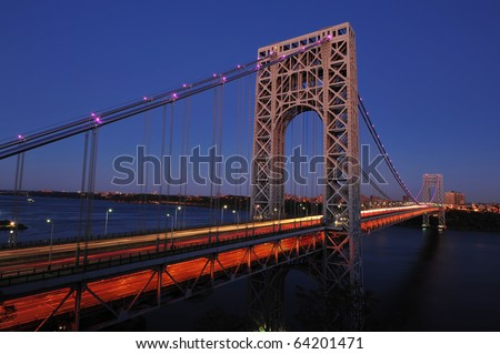 George Washington Bridge with Pink lights for Breast Cancer Awareness Month