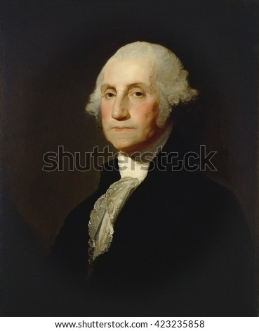 George Washington, by Gilbert Stuart, c. 1803-05, American painting, oil on canvas. In 1796 Washington sat for Stuart who created the famous, but never finished \'Athenaeum\' portrait. From that work,