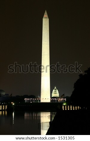 George Washington Memorial and Capitol reflection at night