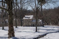 George Washington's Headquarters after snow, Valley Forge National Park  Pennsylvania