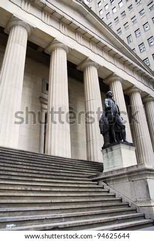 George Washington Statue at Federal Hall in New York City. - stock photo