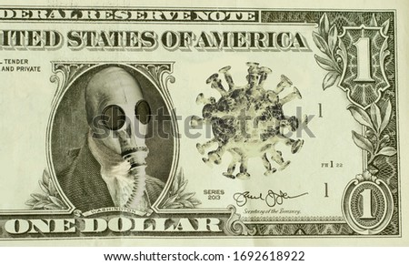 George Washington wears gas-mask as protection against the deadly coronavirus metaphor for failing economy