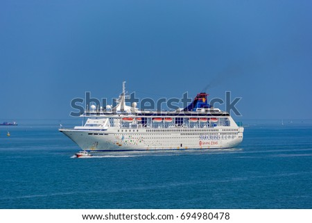 GEORGETOWN, PENANG, MALAYSIA - Mar 04, 2017: Cruise passenger ship 'Superstar Libra' by Star Cruises arrives at the Georgetown harbor.