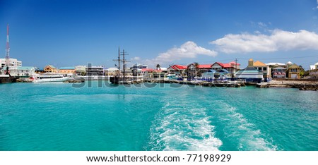 Georgetown waterfront, Cayman Islands, from the water on a sunny afternoon