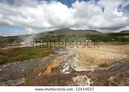 Geothermal activity near Geysir in Iceland. Colorful soil and steaming hot springs. Travel destination.