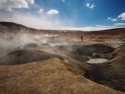 Geothermal activity volcanic hot sulphur springs mud pool fumaroles Sol de Manana Sur Lipez Potosi Andes Altiplano Bolivia South America