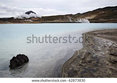 Geothermal lake near geothermal power station in Myvatn, Iceland.