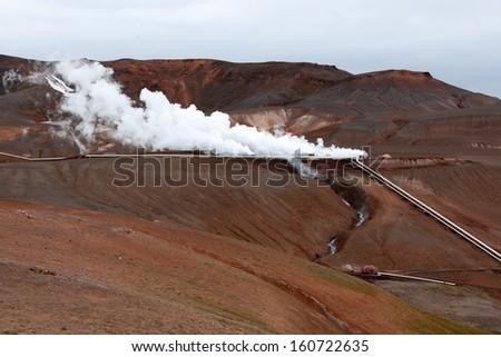 Geothermal plant near Viti crater in Krafla, North Iceland