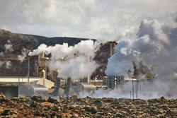 Geothermal power plant in Iceland through heat haze, Reykjanes Peninsula