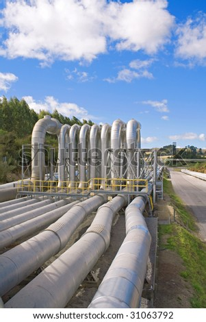 Geothermal power station pipes