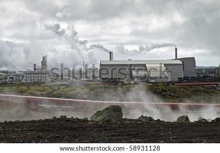 Geothermal powerstation built on a lavafield in Iceland