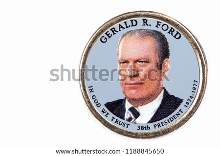 Gerald R. Ford Presidential Dollar, USA coin a portrait image of GERALD R. FORD   IN GOD WE TRUST 38th PRESIDENT 1974-1977, $1 United Staten of Amekica, Close Up UNC Uncirculated - Collection Stockfoto ©
