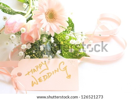 gerbera bouquet with hand writing message card for wedding image