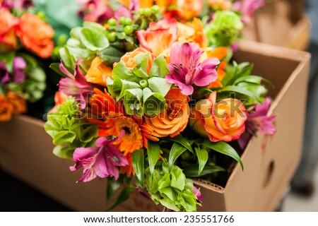 stock photo gerbera tulips and mix of summer flowers bouquet for the wedding in the florida 235551766 - Каталог — Фотообои «Цветы»