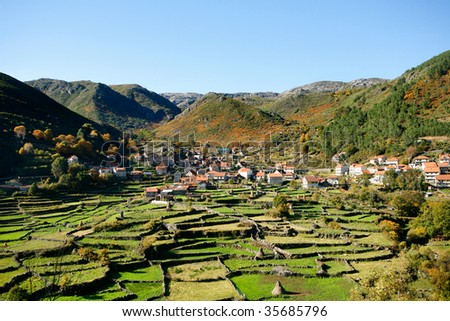 Geres, a old mountain village view at Portugal - stock photo