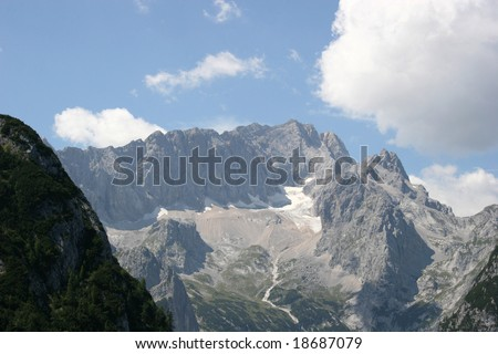 German Alps - Zugspitze, Germanys highest mountain, the Höllental valley and the Höllentalferner glacier, the most popular route to ascent the Zugspitze