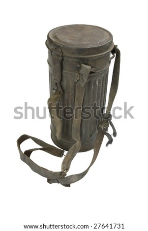 German at the WW2. German case for gas mask. Path on white background. At the WW2 in contrast to the WW1 gas mask practically did not used