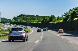 German Autobahn in sun day