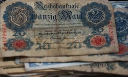 German banknote from the year 1910, no longer valid, with a value of 20 Reichsmark
