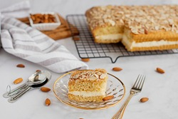 German bee sting cake with a cream filling (Bienestich).