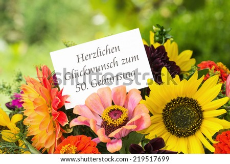 german Birthday card with summer flowers/congratulations on your 50th birthday/german