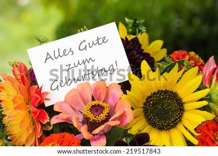german Birthday card with summer flowers/happy birthday/german