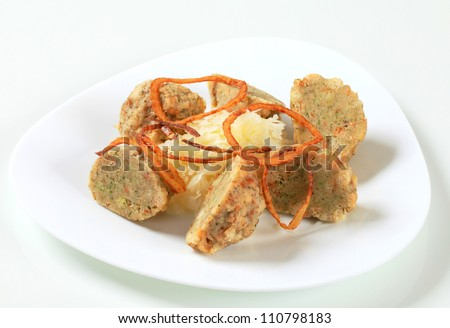 German Bread Dumplings With Sauerkraut And Fried Onion Stock Photo ...
