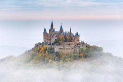 German Castle Hohenzollern over the Clouds