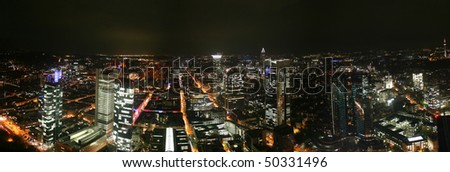 German city Frankfurt with financial district Westend at night