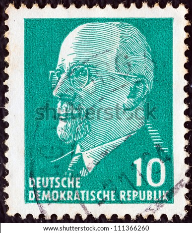 GERMAN DEMOCRATIC REPUBLIC - CIRCA 1961: A stamp printed in Germany shows the leader of East Germany from 1950 to 1971 Walter Ulbricht, circa 1961.