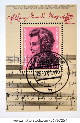 GERMAN DEMOCRATIC REPUBLIC (GDR) -CIRCA 1981: A stamp printed in GDR (East Germany) shows Mozart, circa 1981